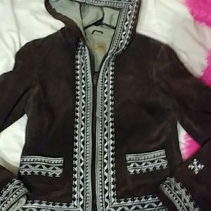 Anthropologie June brown suede leather coat S